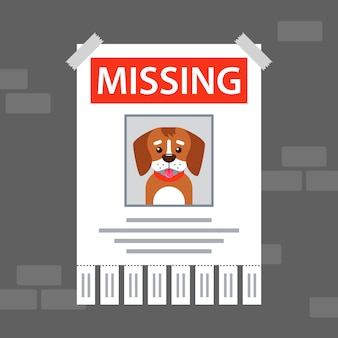 Papieren advertentie op de muur over de vermiste hond.