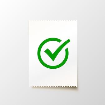 Papieren blanco cheque op de witte achtergrond. vector illustratie