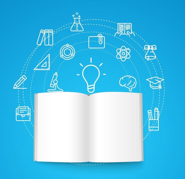 Papieren boek met verschillende lijnpictogrammen. onderwijs concept