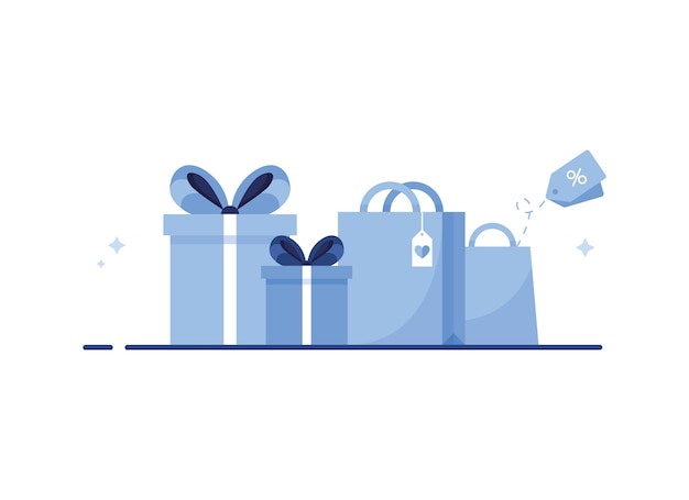 Papieren boodschappentas en cadeau met lint en strik voor e-shopping met cadeautjes voor feest of vakantie. blauw