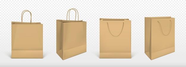 Papieren boodschappentassen, blanco pakketten ingesteld