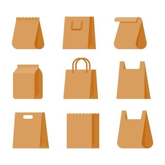Papieren boodschappentassen. kleurrijke papieren zakken voor supermarktproducten. verminder het gebruik van plastic zakken