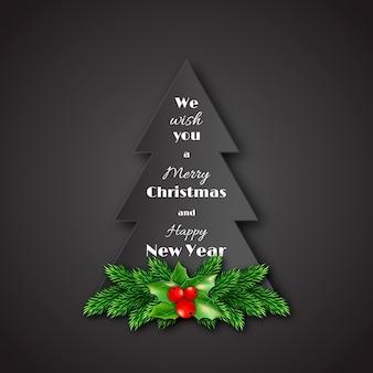 Papieren dennenboom met decoratieve dennentakken van kerstmis en hulst.