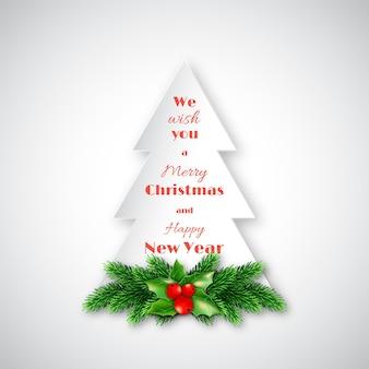 Papieren dennenboom met kerstdecoratieve dennentakken en hulst. prettige kerstdagen en gelukkig nieuwjaar tekst. witte achtergrond. vector illustratie
