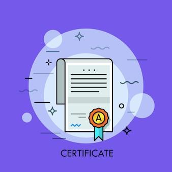Papieren document met tekst, handtekening, wafelzegel en lint.