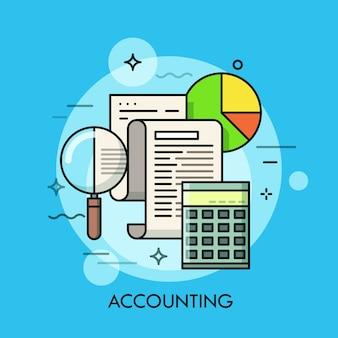 Papieren document, vergrootglas, rekenmachine en cirkeldiagram.