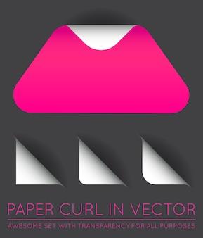Papieren driehoek met krulset