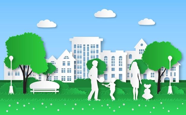 Papieren eco-stad. gezin met kinderen in groen natuurpark, stedelijk ecosysteem en natuurlijke energie origami, ecologische omgeving knutselen huis ecologie beschermen concept