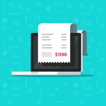 Papieren factuur of belastingbewijs op laptop of online betaling