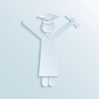 Papieren icoon van afgestudeerde in afstudeerjurk en baret met diploma in de lucht terwijl het vieren van afstuderen aan het einde van de universiteitsstudies