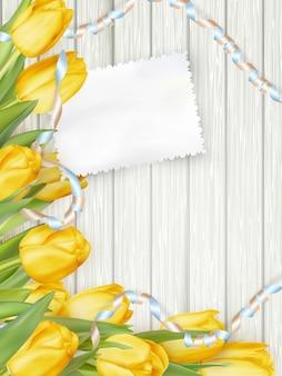 Papieren kaart met tulpen.
