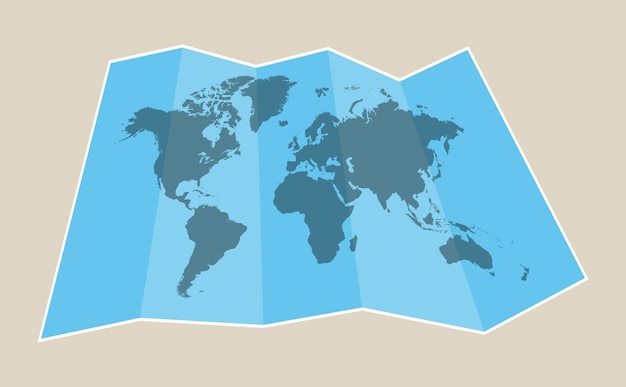 Papieren kaart van de wereld