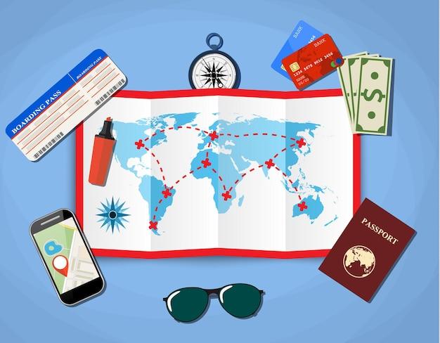 Papieren kaart van de wereld.