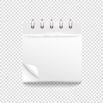 Papieren kalendersjabloon op transparant. vectormodel