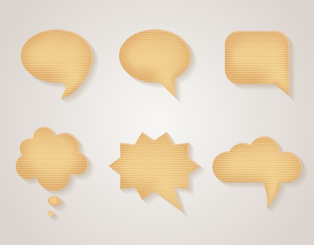 Papieren kartonnen tekstballonnen set. bericht leeg, communicatie sticker getextureerde, vectorillustratie