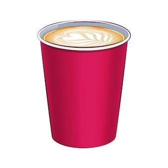 Papieren koffiekopje bovenaanzicht illustratie. warme drank.