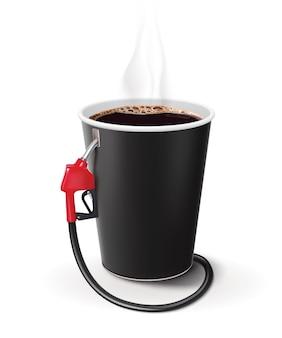 Papieren kopje koffie met dispenser