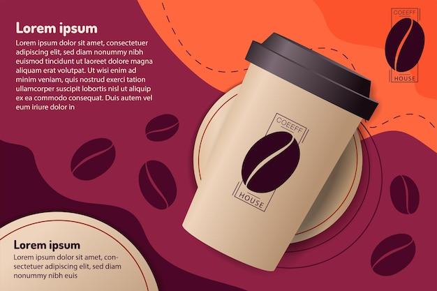 Papieren kopje koffie op paarse en oranje achtergrond