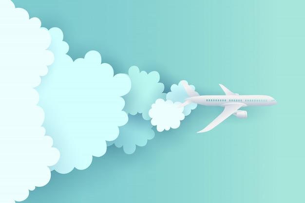 Papieren kunst en landschap, digitale ambachtelijke stijl voor reizen en vliegtuig vliegt in de lucht.