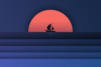 Papieren kunst van uitzicht op zee en zonsondergang met een boot