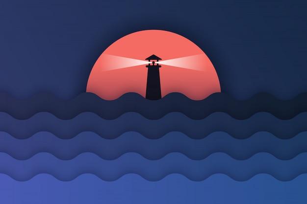 Papieren kunst van uitzicht op zee en zonsondergang