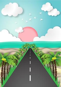 Papieren kunst zomer strand achtergrond met weg