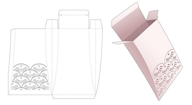 Papieren kussensloop met gestencilde japanse golf gestanste sjabloon