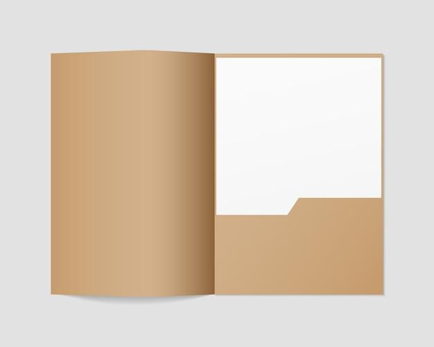 Papieren map met wit papier. realistische open map en papieren sjabloon. geïsoleerd. sjabloonontwerp. realistische afbeelding.
