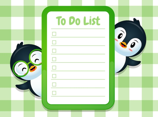 Papieren memoblok notitiesjabloon met schattige pinguïns