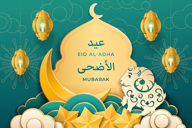 Papieren moskee en sterren schapen en fanous lantaarn voor eid aladha wenskaart uladha en mubarak