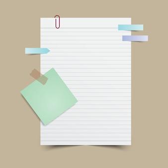 Papieren notitie met plakbriefje en tape