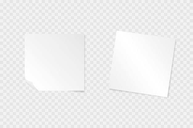 Papieren notitie met schaduwen op een transparante achtergrond.