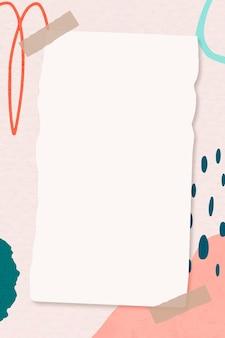Papieren notitie over roze kleurrijke abstracte achtergrond van memphis