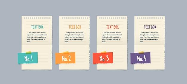 Papieren notitie tekstvak sjablonen