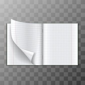 Papieren notitieboek voor wiskunde voor notities. illustratie op transparante achtergrond.