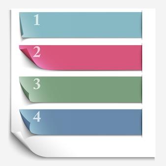 Papieren ontwerpsjabloon voor genummerde papieren banners