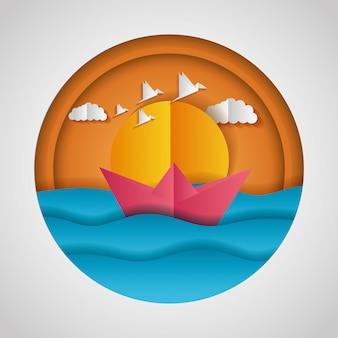 Papieren origami landschap van de zee en een papieren bootje
