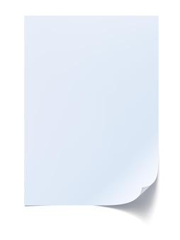Papieren pagina met krulillustratie