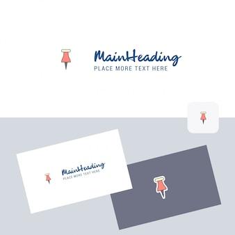Papieren pin vector logo met visitekaartje