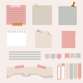Papieren plaknotities met elementenplanningsset. lege notities memoberichten. notebook collectie met gekrulde hoeken, push pins. diverse lineaire tag business office, schrijven herinnert. geïsoleerde vector