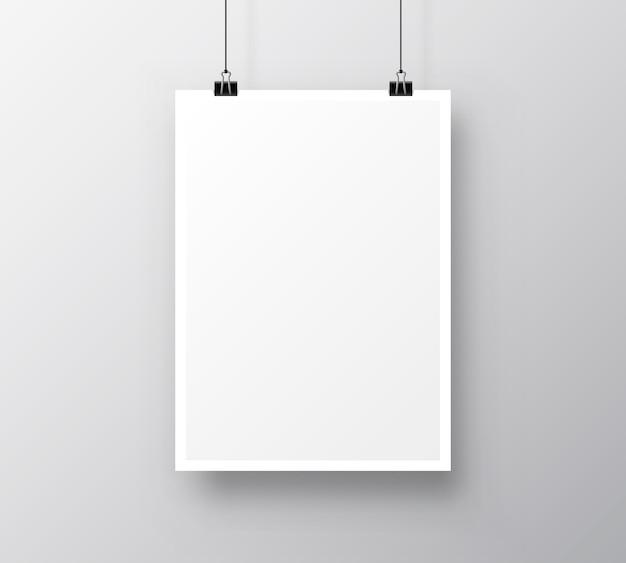 Papieren poster a4 op de grijze achtergrond. vector illustratie