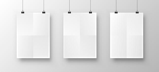 Papieren poster a4 op de witte achtergrond. vector illustratie
