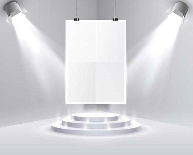 Papieren poster a4 podium op de witte achtergrond. vector illustratie