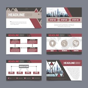 Papieren presentatie en rapport ontwerpsjablonen instellen met abstracte elementen