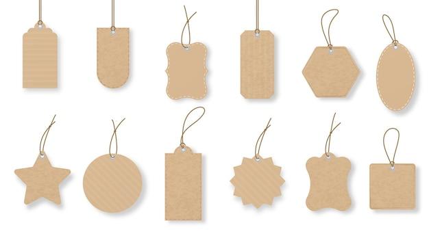 Papieren prijskaartjes bagagelabel met string cadeau-tag in verschillende vorm reclame badge vector set