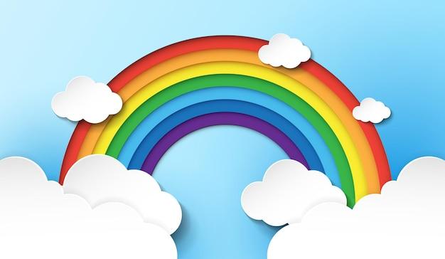 Papieren regenboogkleuren regenboog zijn rood oranje geel groen blauw indigo en violet met wolken
