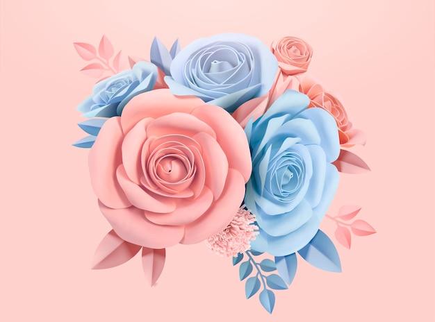 Papieren rozen in lichtblauw en roze, 3d illustratie