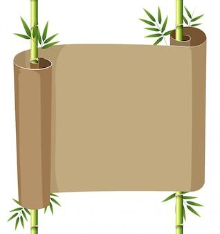 Papieren scroll met bamboe