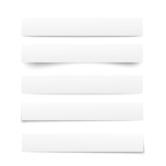 Papieren sjablonen. collectie van witte notitieblaadjes met schaduwen. papierscheiders, verdelers. pagina-scheidingstekens. illustratie