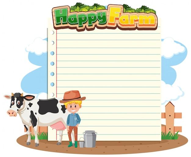 Papieren sjabloon met boer en koe op de boerderij